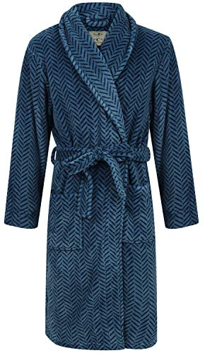 Men's Blue Herringbone Fleece Robe (XL)
