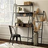 Walker Edison Freya Urban Industrial Ladder Desk with Metal Magnet Board, 36 Inch, Mocha