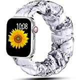 Muranne Scrunchie Watch Band Compatible with Apple Watch 38mm 40mm Cute Pattern Soft Cloth Replacement Elastic Wristband for iWatch SE & Series 6 5 4 3 2 1 Marble 38mm/40mm Small