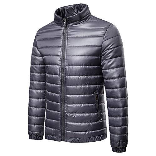 Herren Hoodie Steppjacke Outdoor tolle Übergangs-Mantel warm halten Cardigan mit Reißverschluss Lässiges Sweatshirt mit Taschen Reine Farbe Outwear Tops ideal für kaltes Wetter XL