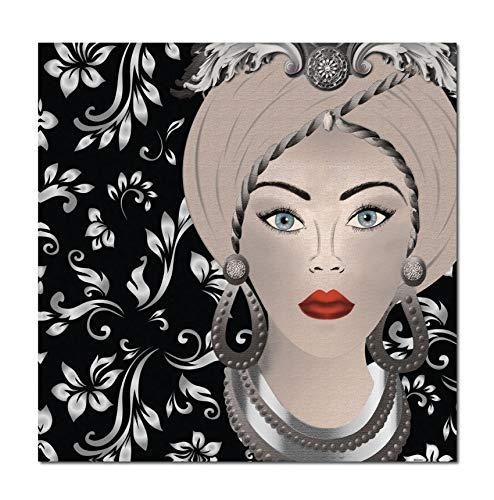 Quadro su Tela, Testa di Moro Donna. Decorazioni argentate. Design Siciliano. Misure e/o Colori Personalizzabili su Richiesta. (70 x 70 cm.)