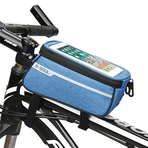Waterproof Bike Pouch Phone Holder Transparent Touchable Pouch Case Bike Frame Phone Holder Bag fit for 6 Inchs Smartphone Mobile Phone Sat Nav GPS Mount (Blue)