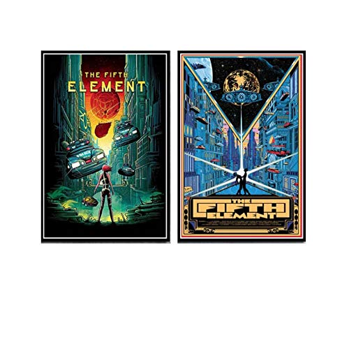 SDGW The Fifth Element Classic Sci-Fi Movie Poster and Prints Pinturas Artísticas Impresiones En Lienzo Cuadros De Pared para Sala De Estar Decoración para El Hogar-50X70Cmx2 Sin Marco
