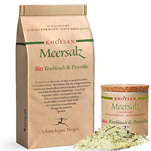 sanquell Khoysan Meersalz mit Knoblauch & Petersilie | handgeschöpft | natürlich getrocknet | besonders lecker | 1kg Nachfüllbeutel & 200g Deko-Box (gefüllt)