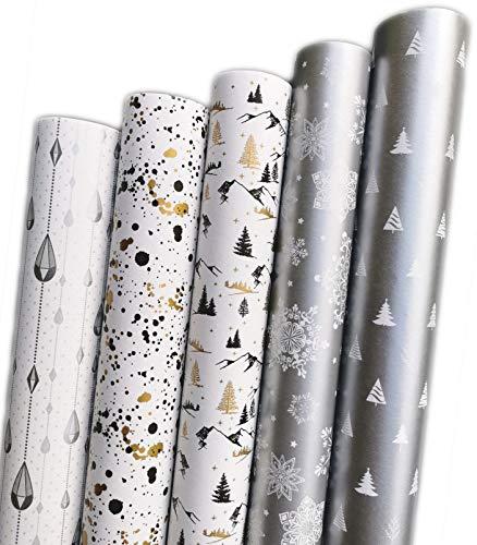 Papier cadeau pour Noël ou anniversaire, élégant et moderne - Noir / blanc / argent