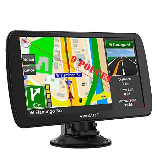 Awesafe - GPS avec cartes d'Europe grand écran 9 pouces