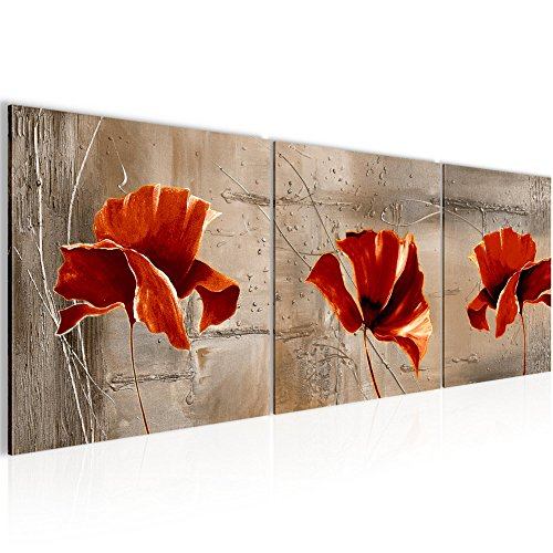 Wandbild Blumen Mohnblume Bilder 120 x 40 cm Vlies - Leinwand Bild XXL Format Wandbilder Wohnzimmer Wohnung Deko Kunstdrucke Braun 3 Teile - MADE IN GERMANY - Fertig zum Aufhängen 201133b