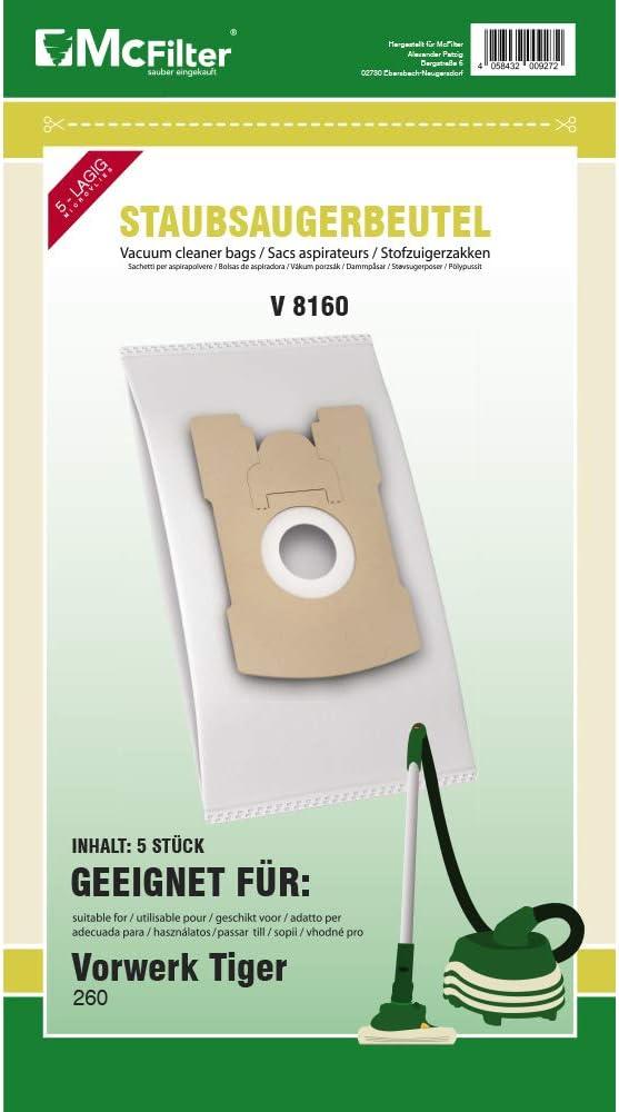 VT270 5 capas de fieltro tipo V 8300 10 bolsas para aspiradora Vorwerk Kobold VT265 VT300