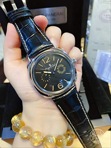 Klassische Armbanduhr Herren Automatik Mechanisch Saphir Edelstahl 8 Tage Otto Giorni Aisi Leuchtuhr Leder 44mmBlack Line