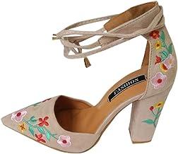 Zapato mujer negro bordado, Covermason Bordado de flores silvestres para mujeres con puntas crudas de tacón alto