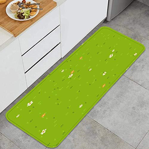 PUIO Juegos de alfombras de Cocina Multiusos,Dibujos Animados Hierba pequeñas Flores Margarita caléndula,Alfombrillas cómodas para Uso en el Piso de Cocina súper absorbentes y Antideslizantes