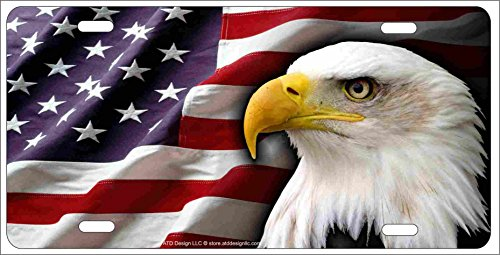 ATD American Bald Eagle Patriotic Novelty License Plate Eagle Head on American Flag