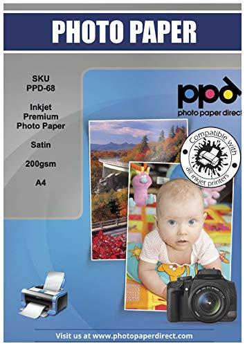 PPD Sparpack A4 x 100 Blatt Inkjet 200 g/m² Fotopapier In Profiqualität - Seidenglänzend Satin Mikroporöse Beschichtung Sofort Trocken und Wasserfest, DIN A4 x 100 Blatt PPD-68-100