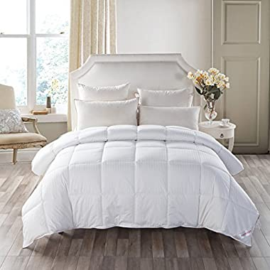 THREE GEESE MedMedium Weight White Goose Down Feather Comforter Warmth Duvet Insert,600Thread Count 100% Cotton Cover,Super Fluffy,Queen Size,White Stripes