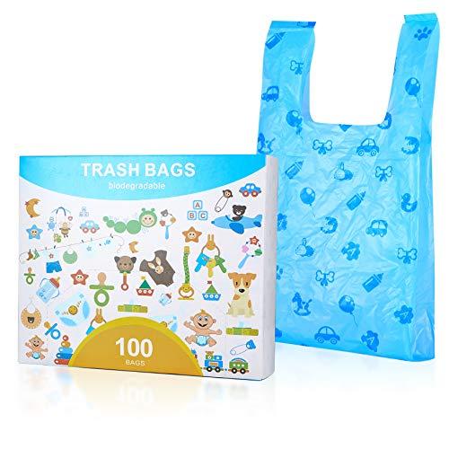 Bolsas de pañales biodegradables, dispensador de bolsas para excrementos de perros, bolsas para excrementos de perros con asas, bolsas de basura para perros (azul, 100 unidades)