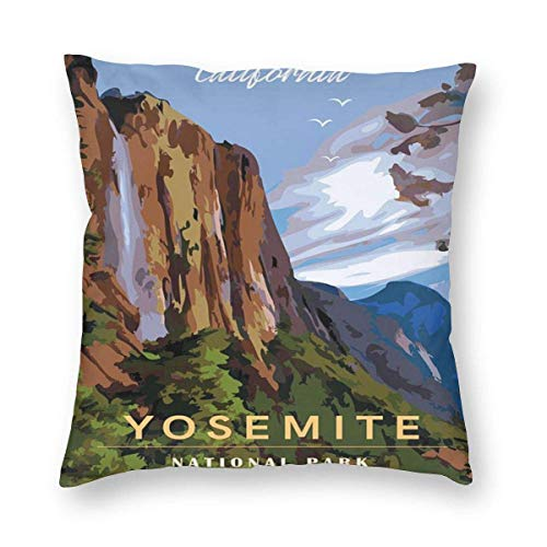 Sweet grape Funda de almohada cuadrada para cojín de viaje Yosemite National Park California con cremallera, 18 x 18 pulgadas