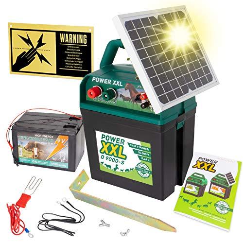 Power XXL Elettrificatore ad energia Solare B 9.000-S, incl.Batteria da 9 V, elettrificatore da 9 V/12 V, con Pannello Solare Molto efficiente, per recinzioni per Cavalli e Pony