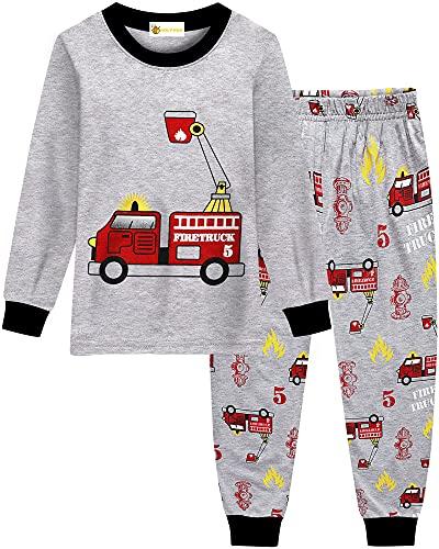 MOLYHUA Jungen Feuerwehr Schlafanzug Lange Pyjama Top und Hosen für Kinder Zweiteiliger Nachtwäsche 92 98 104 110 116 122,03 Feuerwehrauto,98