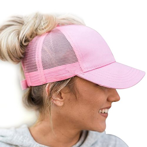 Womens Ponytail Baseball Cap Messy High Buns Trucker Ponycaps Plain Visor Dad Hat Adjustable Size Pink