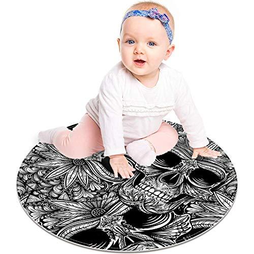 Alfombra antideslizante con diseño de calavera en blanco y negro, 23.6 pulgadas, para dormitorio de niños, habitación de bebé, sala de juegos, guardería