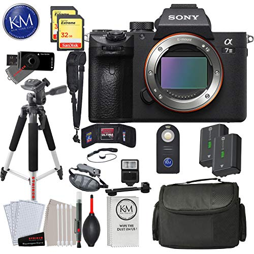 Sony Alpha a7 III Mirrorless Digital Camera - Body Only with Deluxe Striker Bundle: Includes – Memory Cards, Large Tripod, Camera Bag, Extra Battery, Cleaning Kit, and More