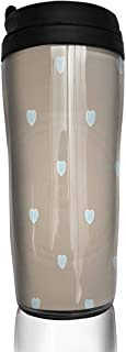 Coffee Cups Love Heart Polka Dot Grey Travel Tumbler Insulated Leak Proof Drink Containers Holder Fantastic 12 Ounces