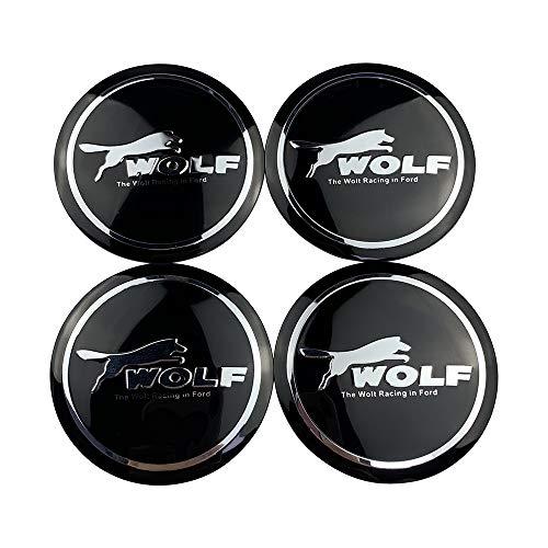 Coche Tapas centrales Compatible con Ford Wolf Racing Wheel Pegatinas Compatible con Focus 2 3 Mondeo Mustang Fiesta Edge Kuga Range EcoSport 4pcs HUB Center Emblem Caps Accesorios para el Coche