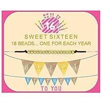 Joycuff スウィート16歳の誕生日プレゼント ティーンガールズ 娘 姉妹 孫娘 姪 親友 親友 かわいい かわいい 優美 デリケート 願い ユニーク ハンドメイド 18Kゴールドフィルド ビーズブレスレット 16歳 10代の女の子向け ブラウン