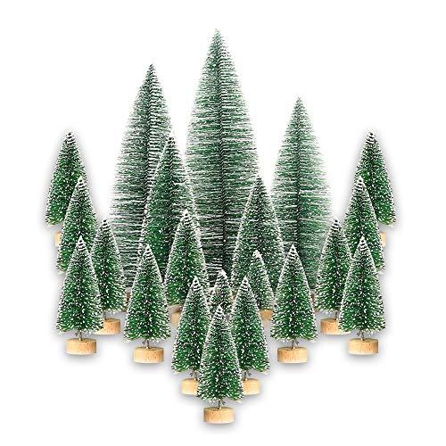 LONGCHAO 15 mini árboles de Navidad, árboles de Navidad en miniatura, adornos artificiales de sisal, árboles de nieve para manualidades, tartas de mesa, decoración de fiestas, 3 tamaños diferentes