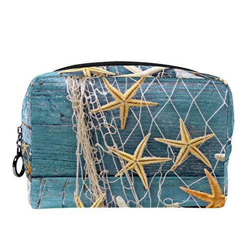 Neceser de Maquillaje Estuche Escolar para Cosméticos Bolsa de Aseo Grande Estrella de mar Concha de Madera Estrella de mar
