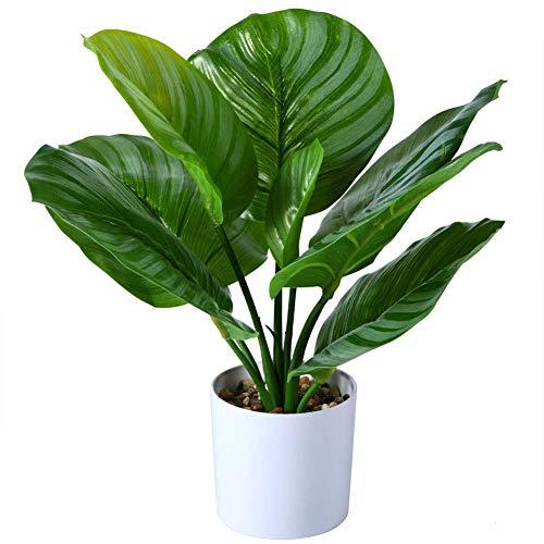 FOPAMTRI Fake Calathea Orbifolia Plant 16 Inch Faux Prayer Plant Artificial...