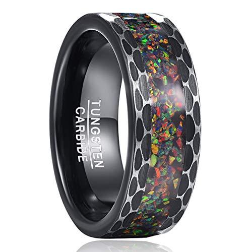 NUNCAD Wolfram Ring für Herren mit Crushed Fire Opal Schwarz Verlobungsringe Partner Ringe Unisex Ring Größe 62 (19,7)