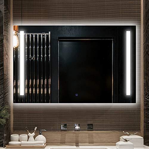 HL - Espejo de baño con luz LED inteligente antivaho interruptor táctil a prueba de humedad 600 x 800 cm, apto para lavado de maquillaje de baño, color blanco A-500 x 700 mm