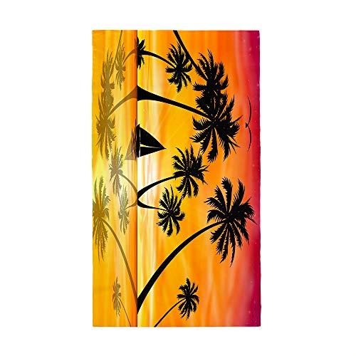 Fansu Toalla de Playa Microfibra Gigante Impresión Árbol de Coco 3D Rectangular Surf Toalla de Piscina Grande,Toalla Playera para Tomar el Sol de Verano Paño para Playa Unisex (Atardecer,80 * 180cm)