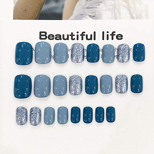 CLOAAE American fake nails cute gray blue solid color fake nails 24 French short size ladies full nail tips bride