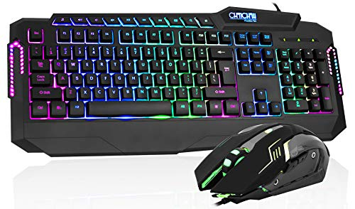 Gaming Keyboard and Mouse Combo, CHONCHOW USB Wired LED Rainbow Backlit Gaming Keyboard Mouse Set for PS4 Xbox PC Computer Gamer