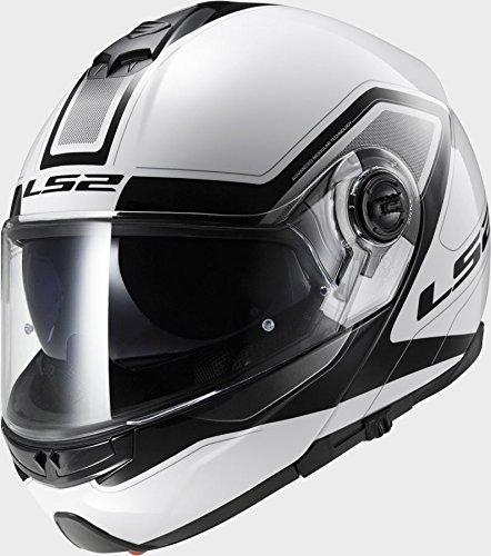 LS2 FF325 Strobe Civik - Casco de moto color blanco y negro