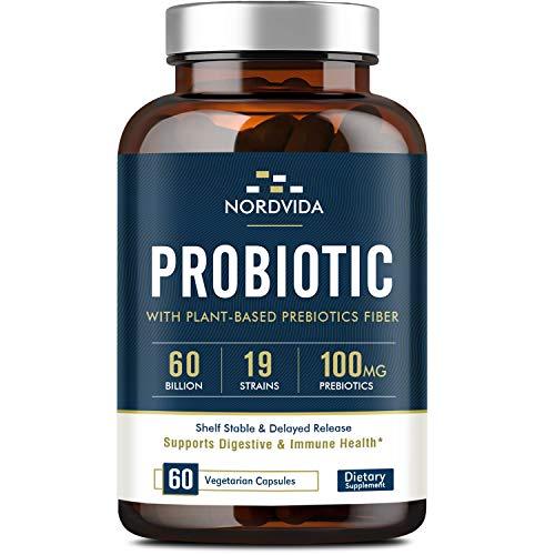 Probiotics60 Billion CFU 19 Strains withOrganic Prebioticfor Men & Women, Shelf Stable Delayed Release, No Need for Refrigeration, Digestive & Immune Health, Vegan, Non-GMO, No Soy Dairy, 60 Caps