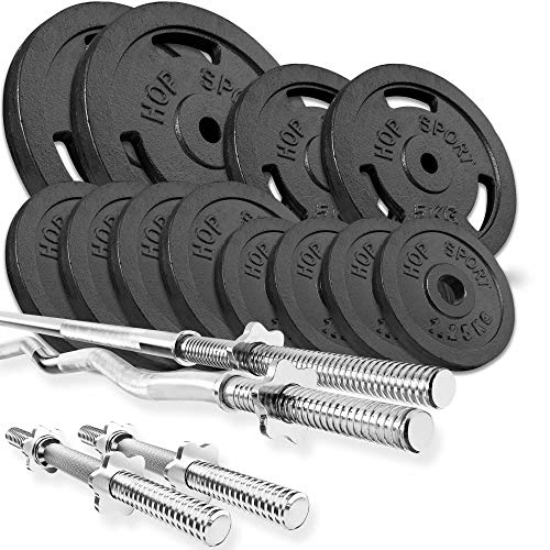 Hop Sport Cast Iron Barbell Set 66kg: 1x Barbell, 1 Curl Bar, 2x Dumbbell with 12 Iron Weight Plates - Weight Lifting Set for Bodybuilding - Home Gym Equipment for Training Bench