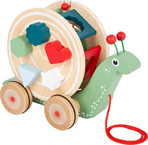 Small Foot 11734 Nachzieh-Stecktier Schnecke aus Holz, Motorikspielzeug zum Laufen Lernen für Kinder ab 12 Monaten Toys