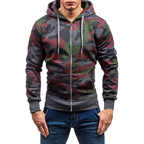 Homme Veste, Manadlian Chemisier Jacket de Sport à Capuche Sweats à Capuche Zipper Slim Hoodies pour Hommes Sweat-Shirts (Large, Gris foncé2)