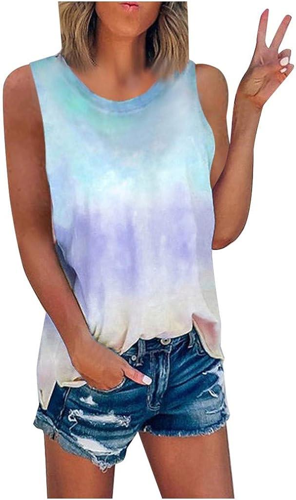 AODONG Womens Tank Tops Casual, Womens Fashion Tie-Dye Printed Vest Tshirt Sleeveless Blouse Summer Tank Top Tunic Tee