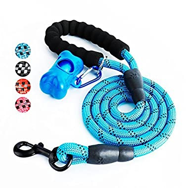 Fukkie 5FT Dog Leash, Heavy Duty Dog Leash with Comfortable Padded Handle and Reflective Threads, Nylon Climbing Rope Dog Leash, Strong Training Dog Leashes for Small Medium Large Dogs, Blue