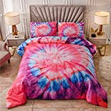 NTBED Boho Tie Dye Printed Comforter Set Twin for Kids Girls Psychedelic Trippy Rainbow Bedding Hippie Quilt Bed Sets (Pink, Twin)