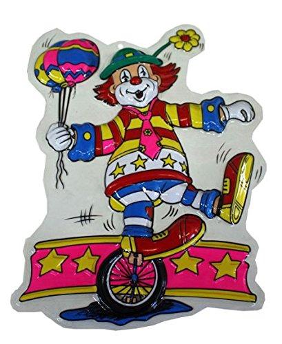 Wanddeko Clown auf Einrad und Ballons Karneval Dekoration