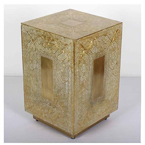 Casa Moro, sgabello marocchino Dakhla 30x30x47 (larghezza x profondità x altezza), in vero legno, tavolino orientale completo di rivestimento in ottone in stile vintage, artigianato Marrakech HK3038