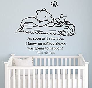 """Winnie Pooh - As Soon As I Saw You Quote Baby Room Wall Decal- Decal for Baby's Room- Quote Mural Decal (Wide 18"""" x 22"""" Height)"""