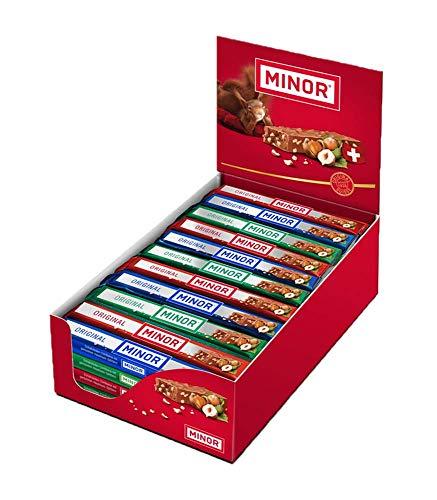 Schweizer Schokolade | MINOR Classic Stengel | 44 Schokoladenriegel á 42g im Thekendisplay | 1,848kg Großpackung | Nougat / Gianduja | Maestrani Milchschokolade | Glutenfrei | Ohne Palmfett