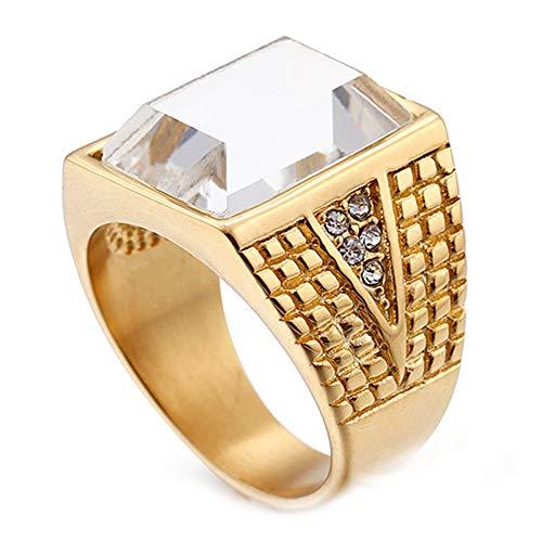 LANCHENEL Joyería para Hombre de Oro con rubí Vintage Prepotente Anillos de Diamantes Blanco