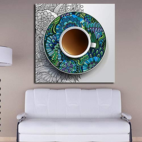 ganlanshu Pintura sin Marco Graffiti Coffee Canvas Artist decoración del hogar Creativo Pop Art Living Room decorationZGQ1728 40X40cm